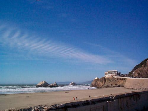 Blue skies over Ocean Beach in San Francisco